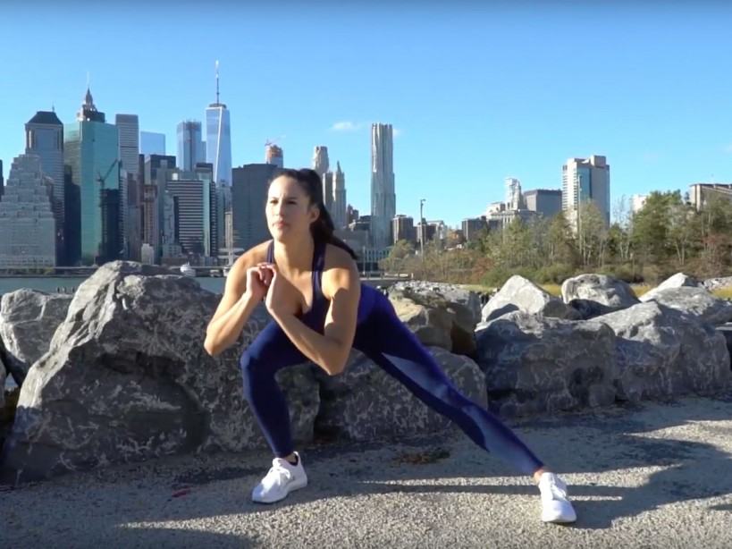 Brittany Smith demonstrating The Do-Anywhere Bodyweight Program: The workout to build strong, muscular legs
