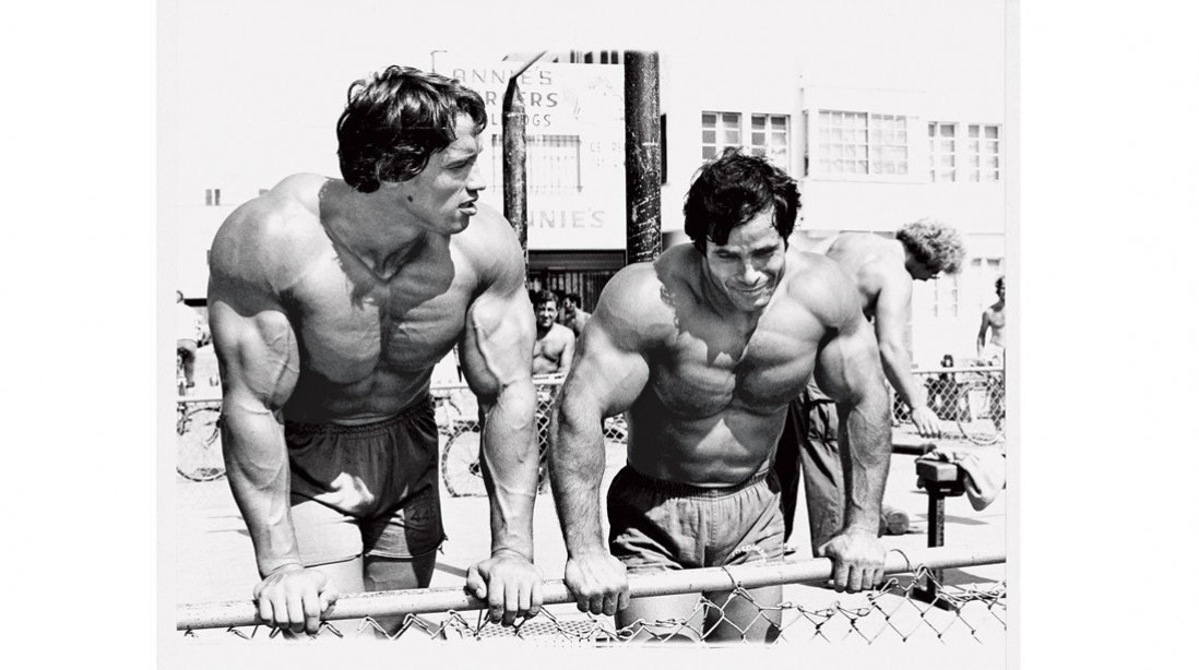 Arnold Commemorates Meeting Franco Columbu