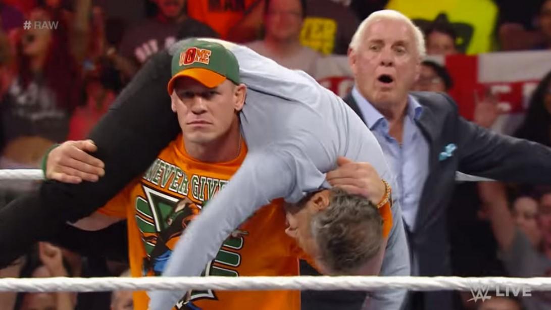 John Cena Takes Jon Stewart Down on Monday Night Raw