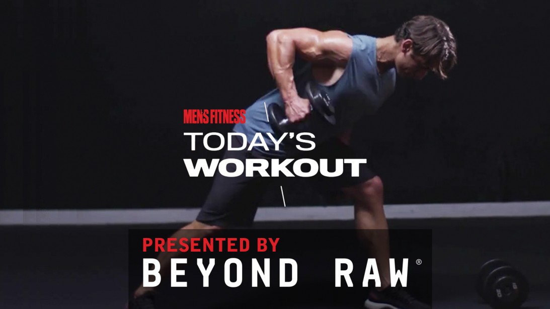 Man Does Single-Arm Lawnmower Dumbbell Row