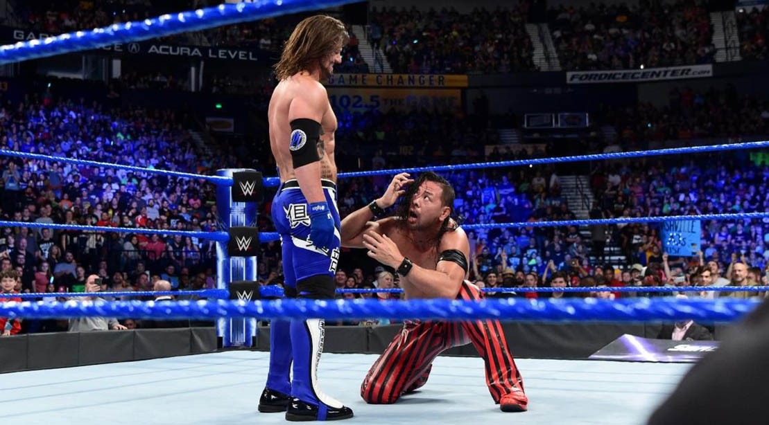 AJ Styles and Shinsuke Nakamura on 'Smackdown Live' on April 4, 2018