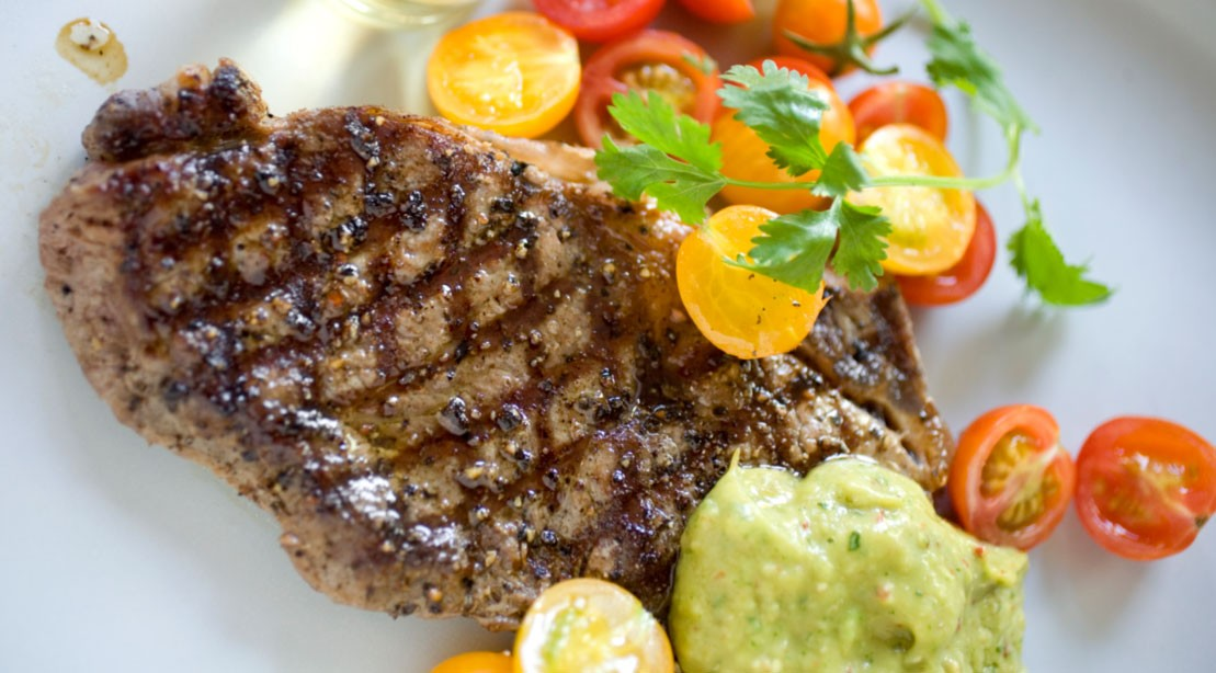 Grilled Flank Steak With Tomato, Orange, and Avocado