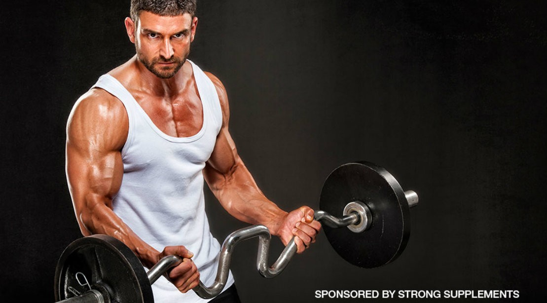 Man Curling Barbell for Strong supps
