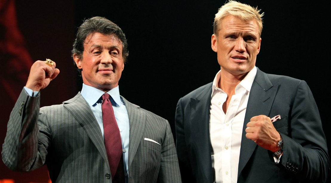 Sylvester Stallone And Dolph Lundgren In Suits