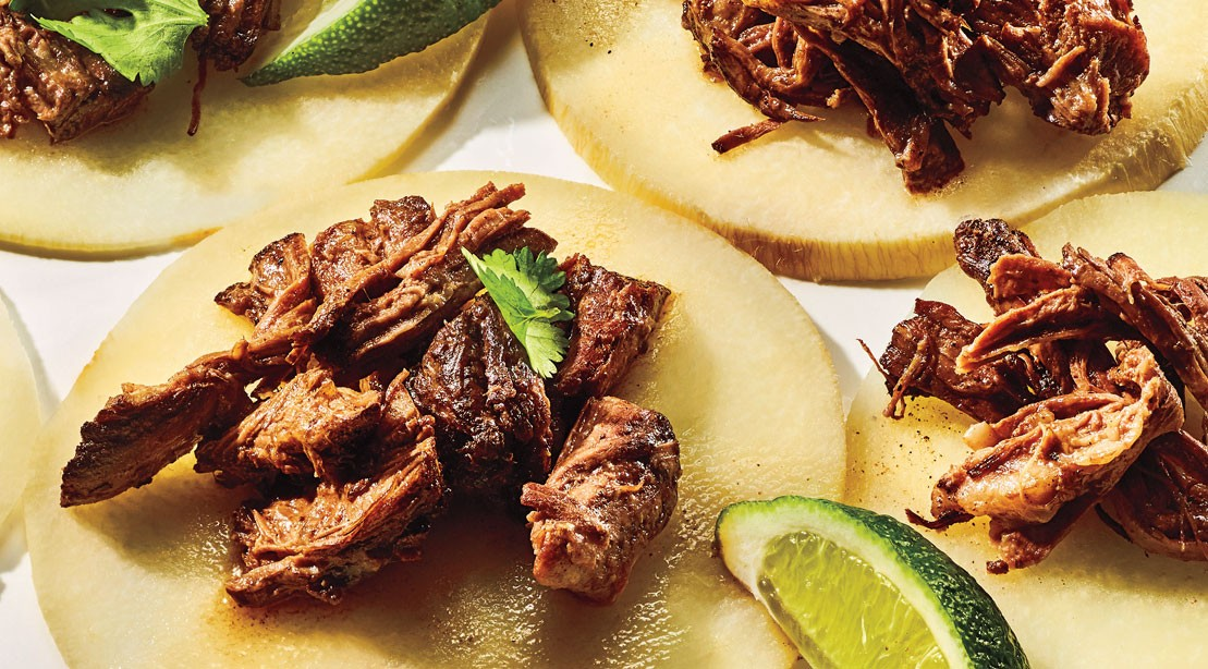 Slow cooker barbacoa with jicama tortillas