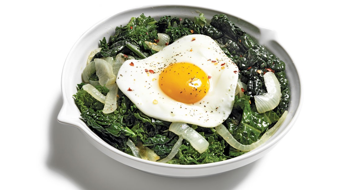 Braised Greens With Fried Eggs