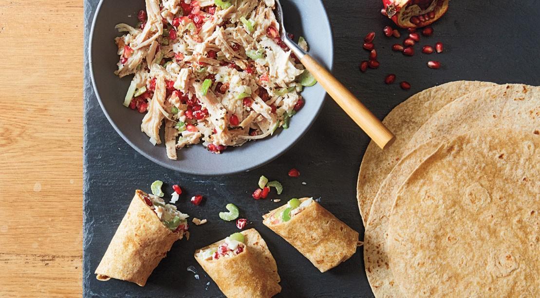 Chicken and walnut salad wraps