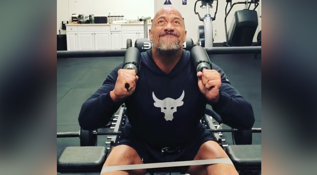 """Dwayne """"The Rock"""" Johnson Performing Banded Squats"""