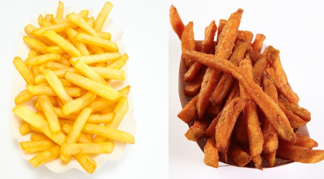 Vs de frites régulières. Frites de patates douces