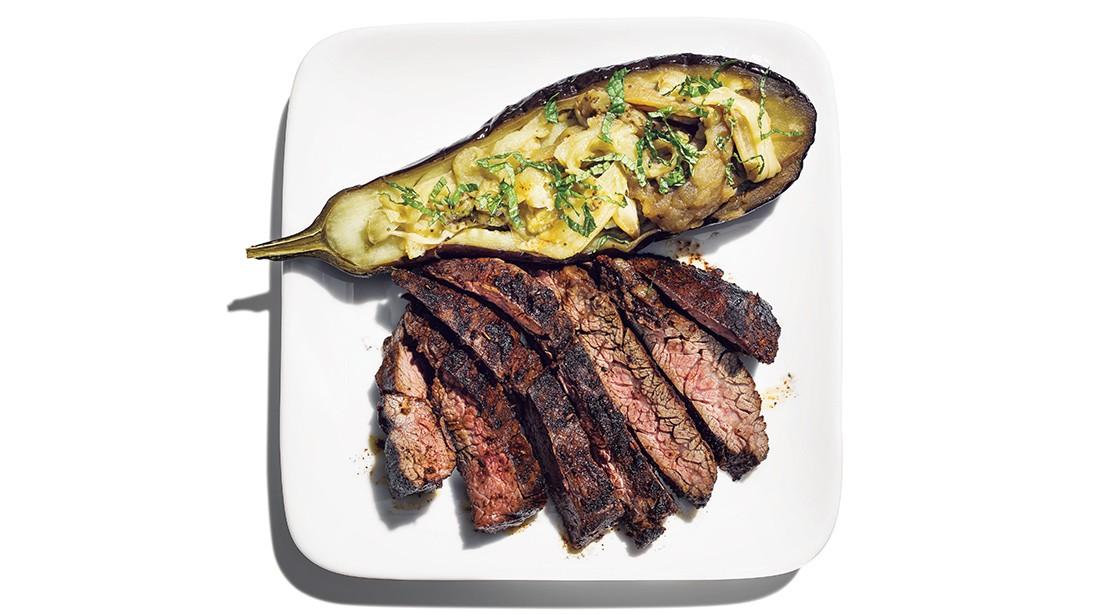 Hanger Steak and Baked Eggplant