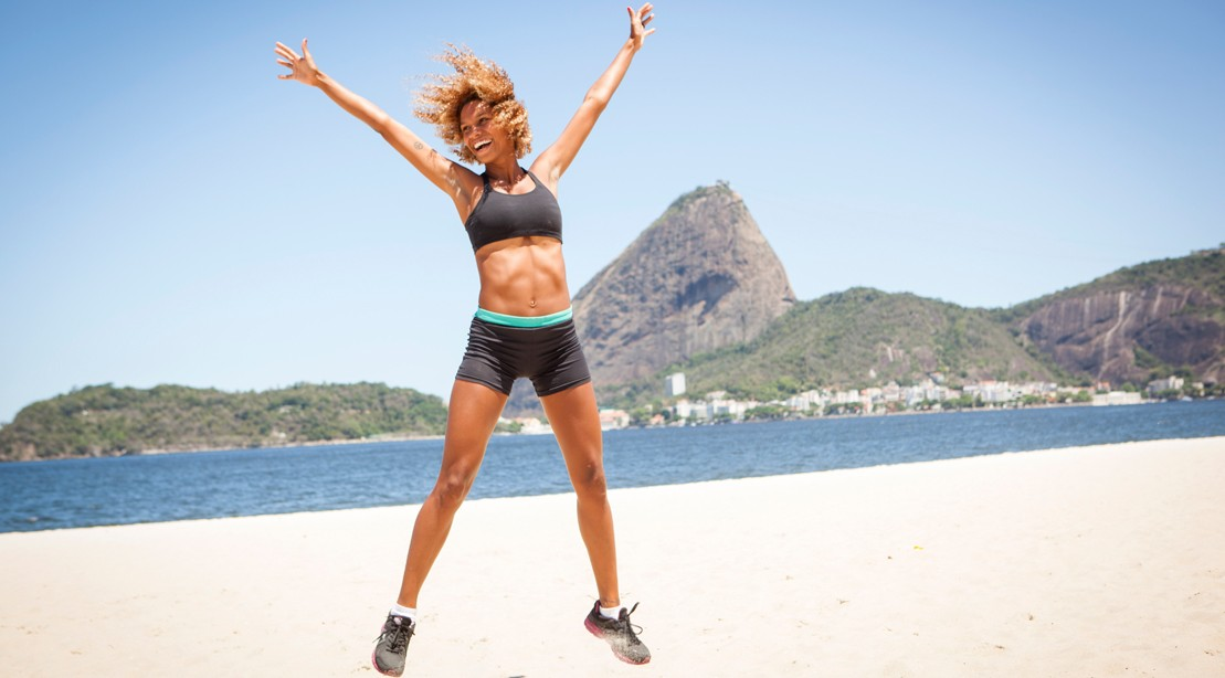 at home workout full body circuit routine no equipment needed Mountain Climer Workout jumping jacks on the beach