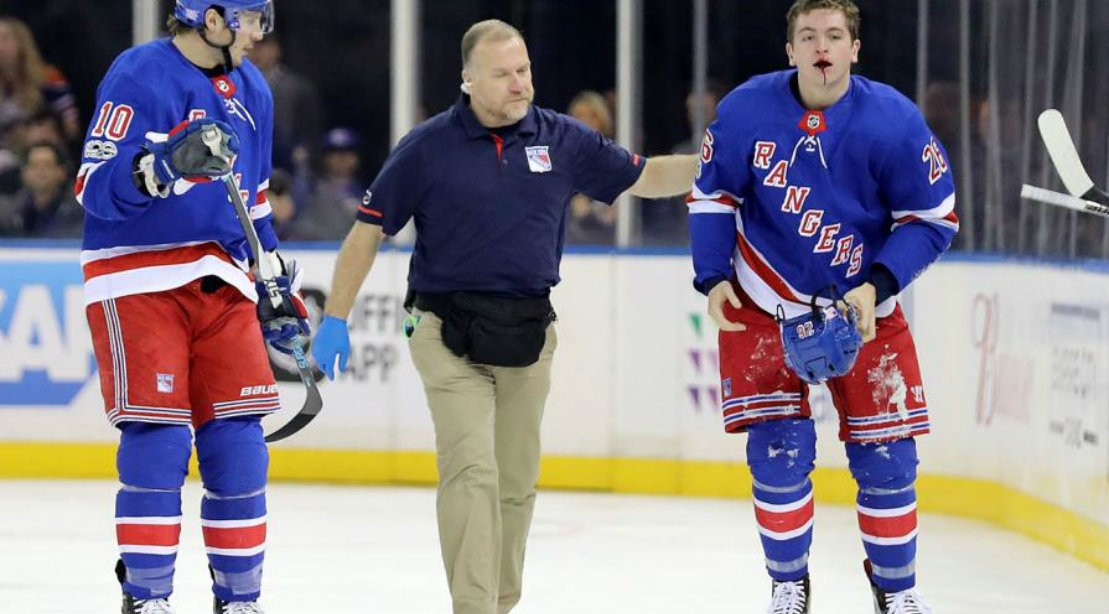 Rangers winger Jimmy Vesey suffers gruesome oral injury