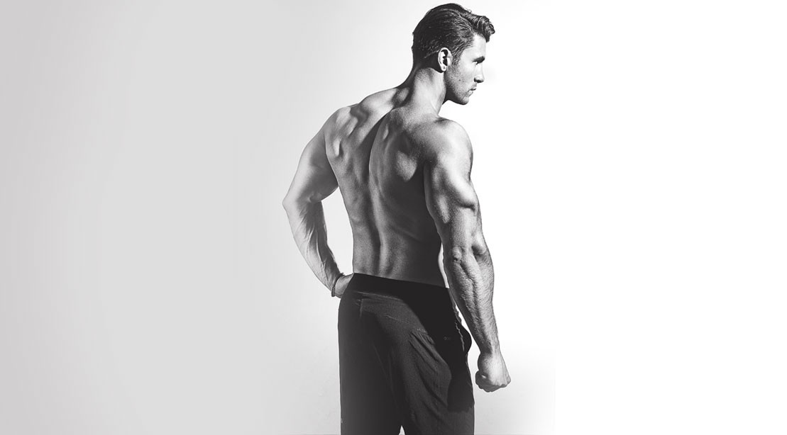 Man with muscular back and triceps