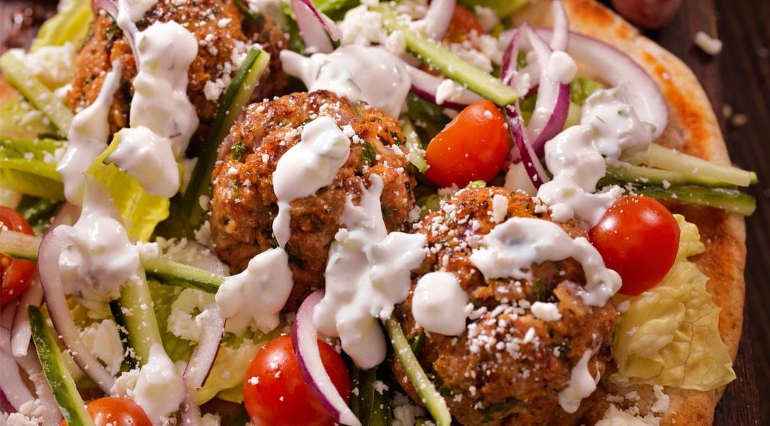 Meatballs With Greek Goddess Dressing