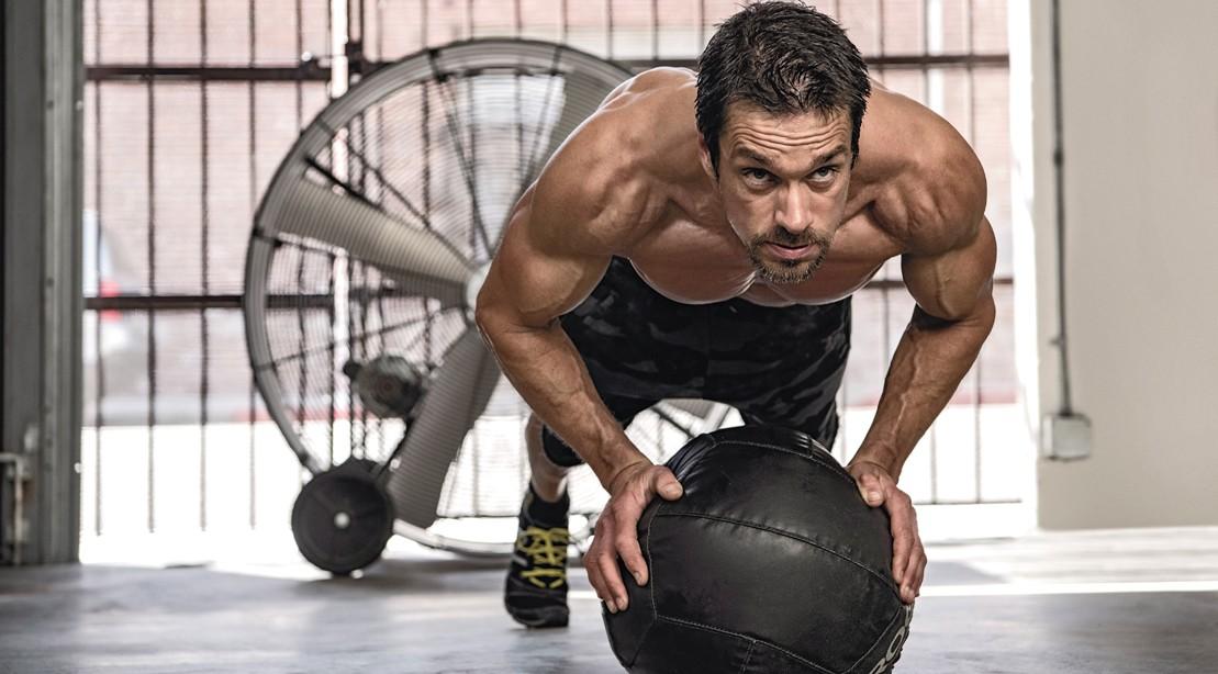 1109 medicine ball pushup lean muscular