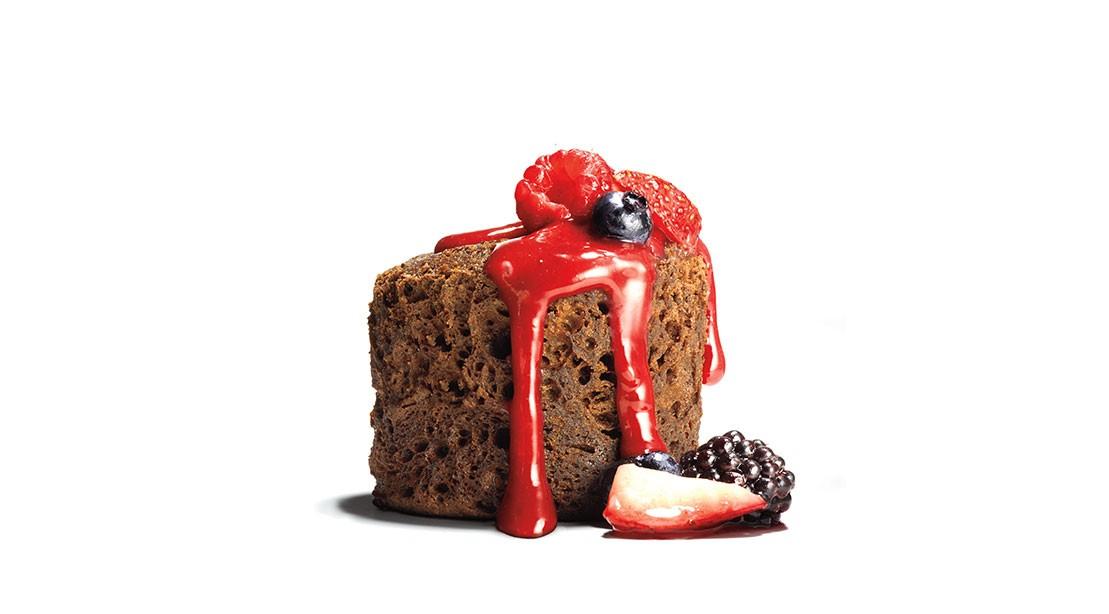 Microwave Chocolate Cake with Cherry Sauce