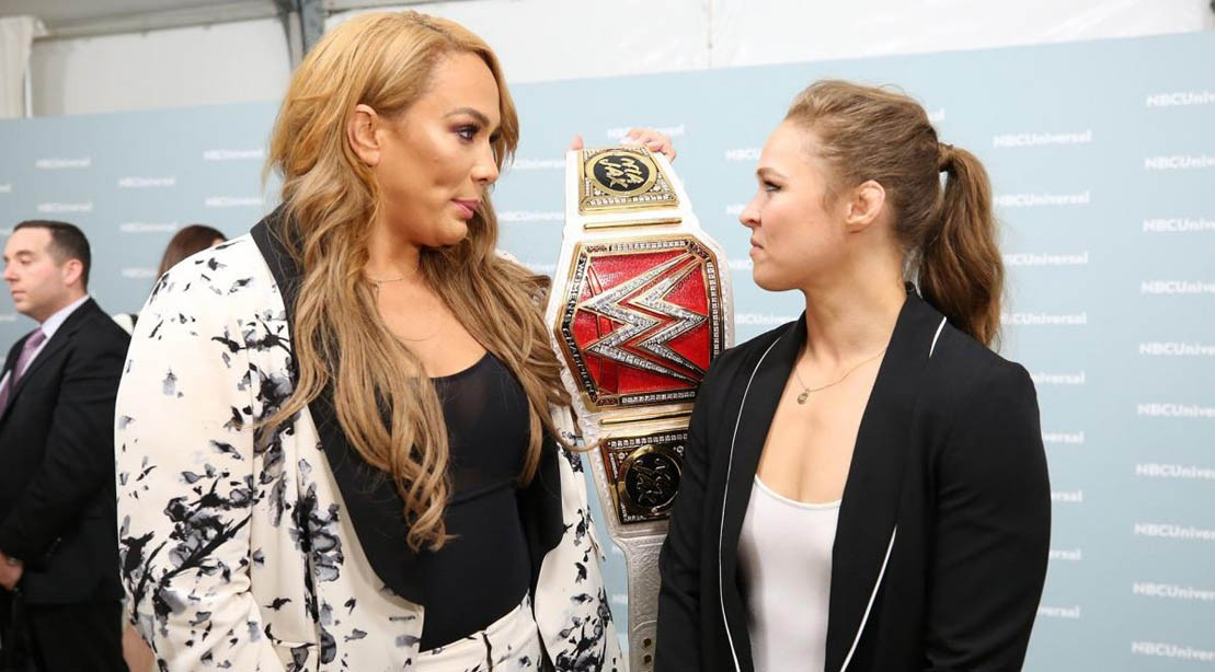 Nia Jax confronts Ronda Rousey at the NBC upfronts in May 2018