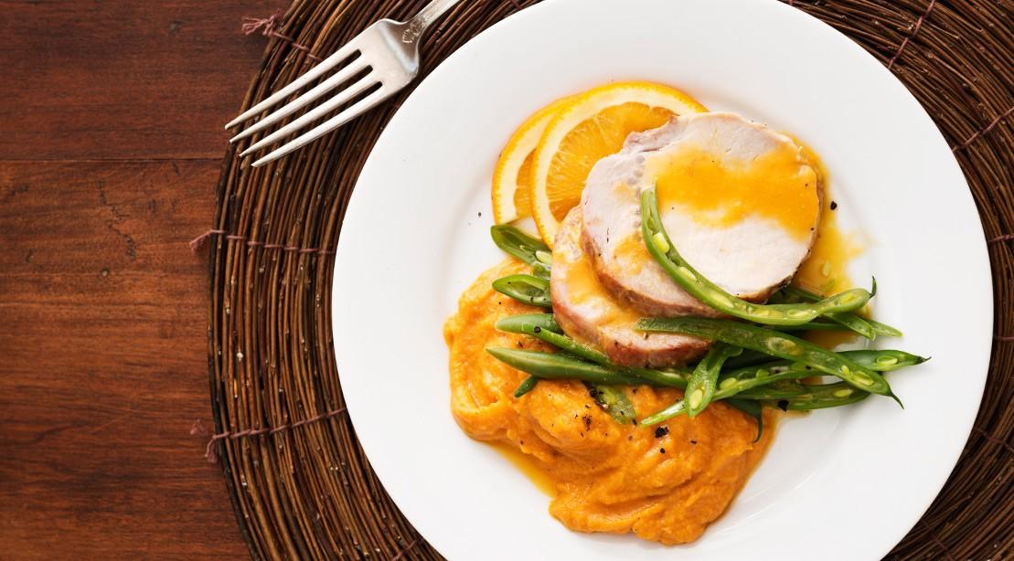 Orange Honey Pork Loin and Sweet Potato Mash