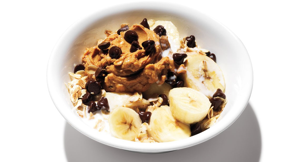 Peanut Butter, Chocolate, and Banana Oatmeal Bowl