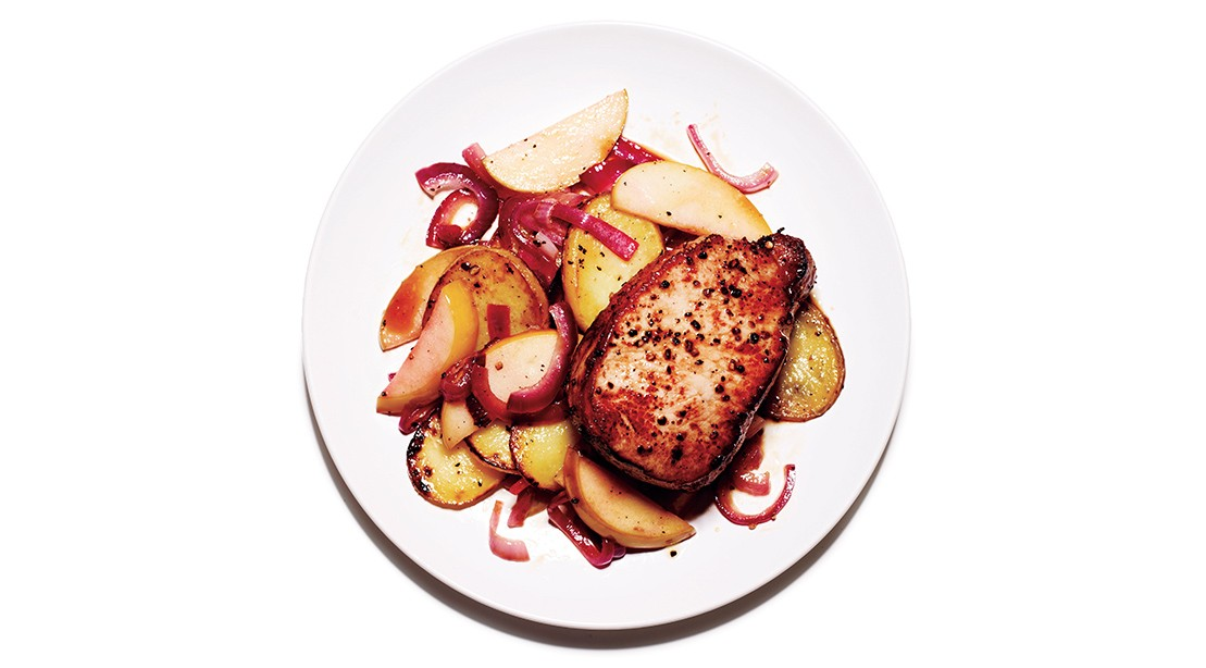 Brined Pork Chops With Apple Hash