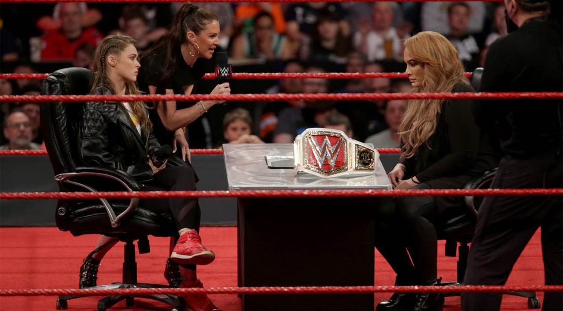 Ronda Rousey and Nia Jax on WWE Monday Night Raw, 21 May 2018