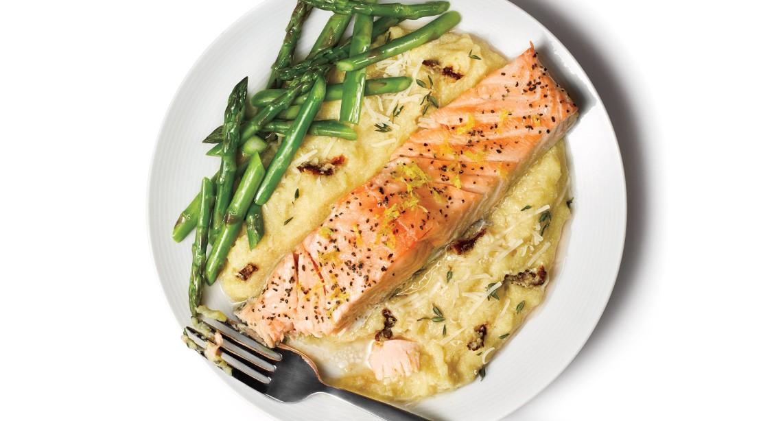 Salmon with Polenta and Asparagus