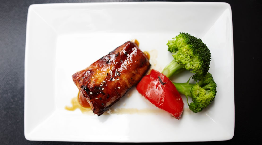 Roasted Salmon Wrapped in Prosciutto With Broccolini