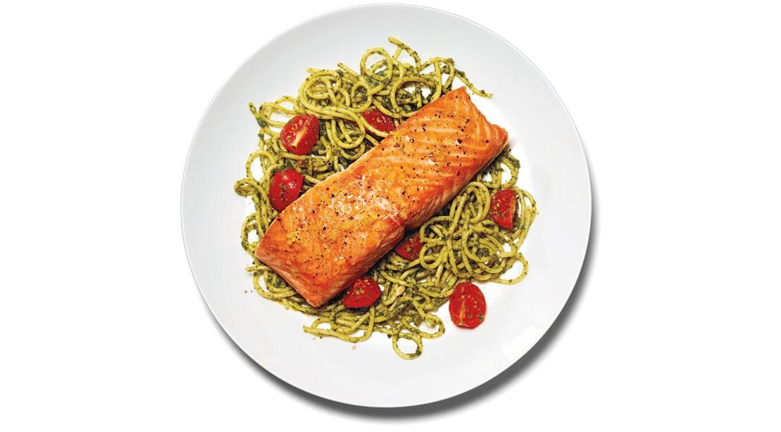 Salmon and Brown Rice Pasta With Kale Pesto