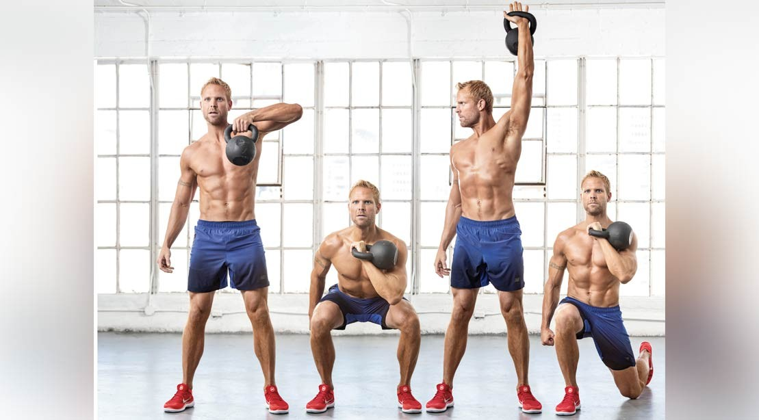 Single-Arm High Pull + Squat To Rotational Press + Alternating Reverse Lunge