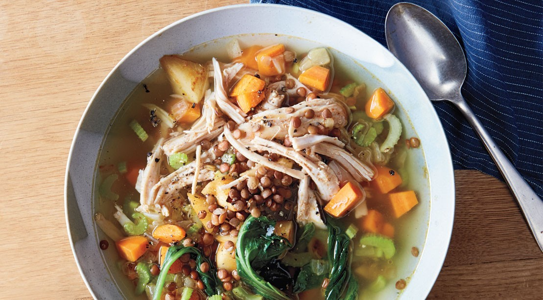 Spicy chicken and root vegetable soup