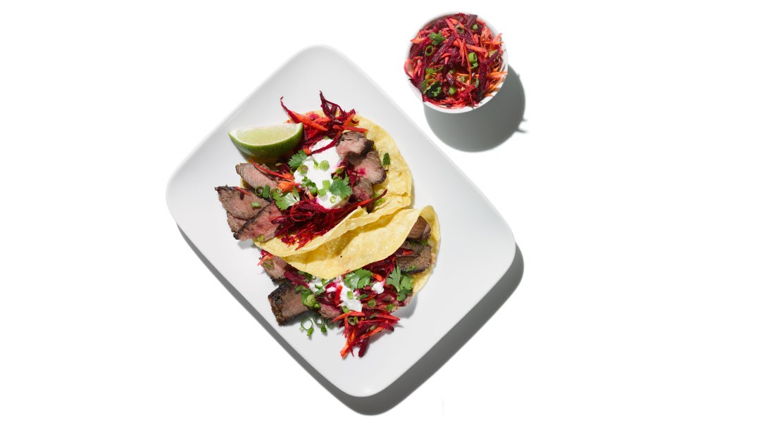 Muscle Up: Steak Tacos With Beet-Carrot Slaw