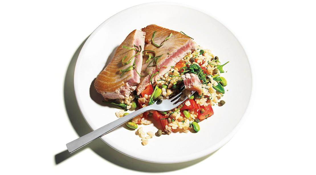 Savory Seafood: Grilled Tuna and Edamame