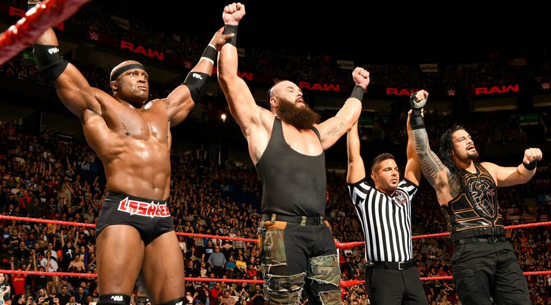 Bobby Lashley, Braun Strowman, and Roman Reigns on WWE Raw / 30 Apr 2018