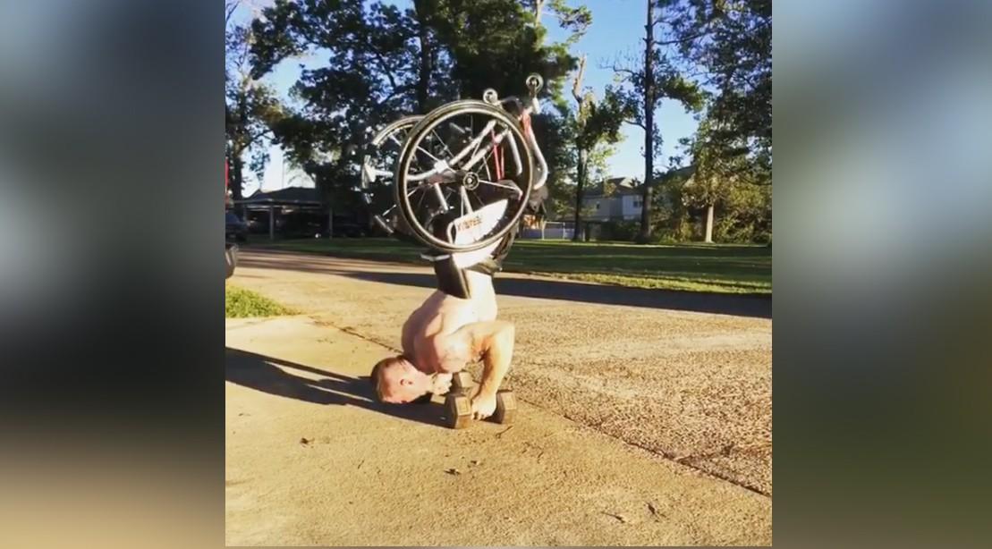 Zuck Ruhl Handstand Pushups in a Wheelchair