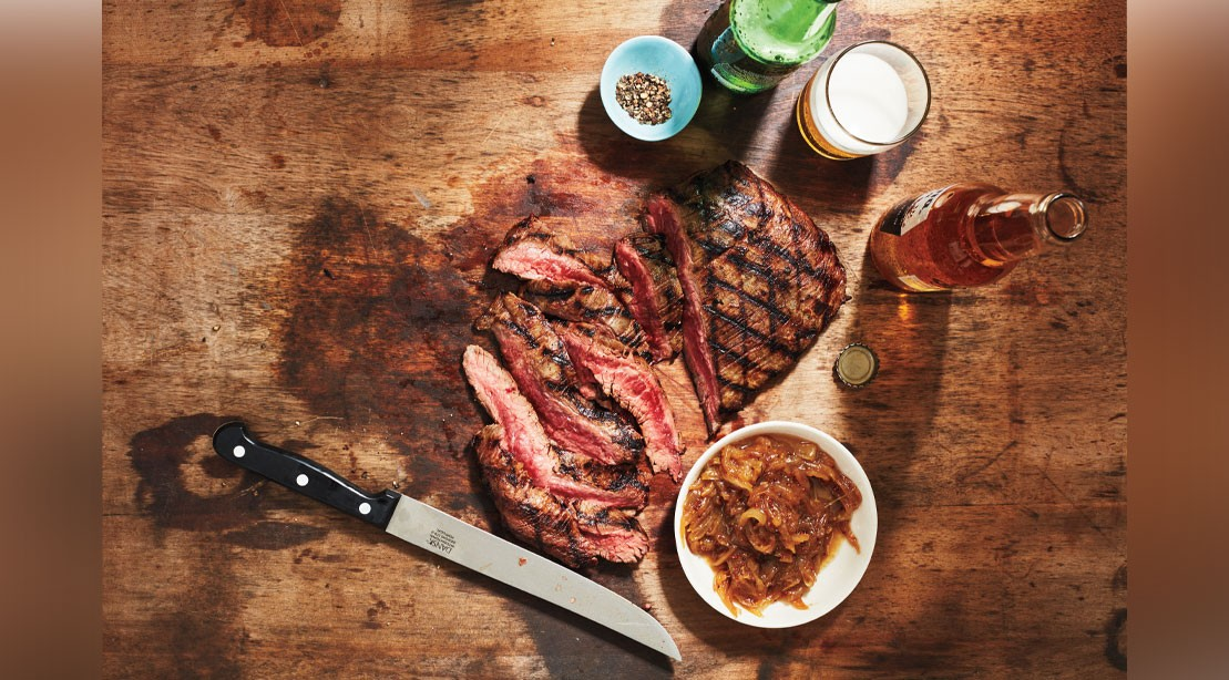 Flank Steak Beer With Caramelized Onions