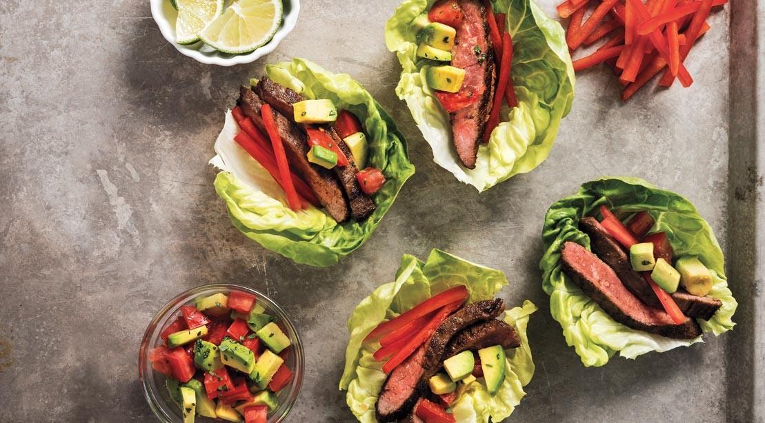 Mini Steak Tacos in Lettuce Cups