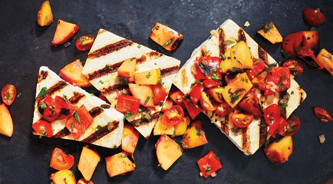 Tofu Steaks With Peach Salsa