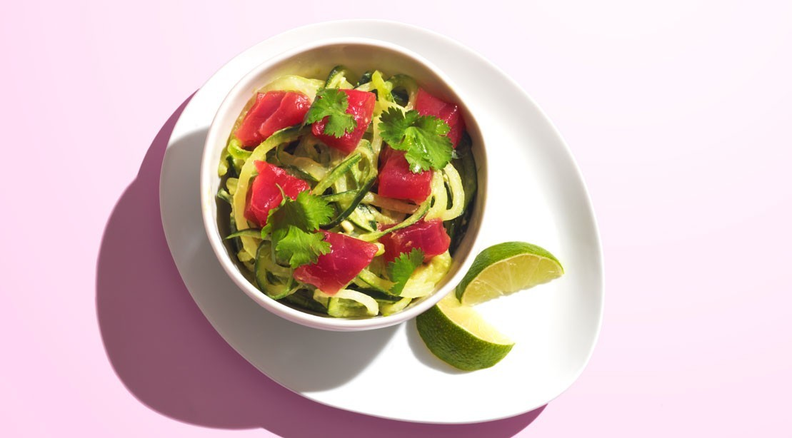 Low-Carb Protein-Packed Meal: Ahi Tuna Poke Bowl with Avocado and Cucumber Noodles