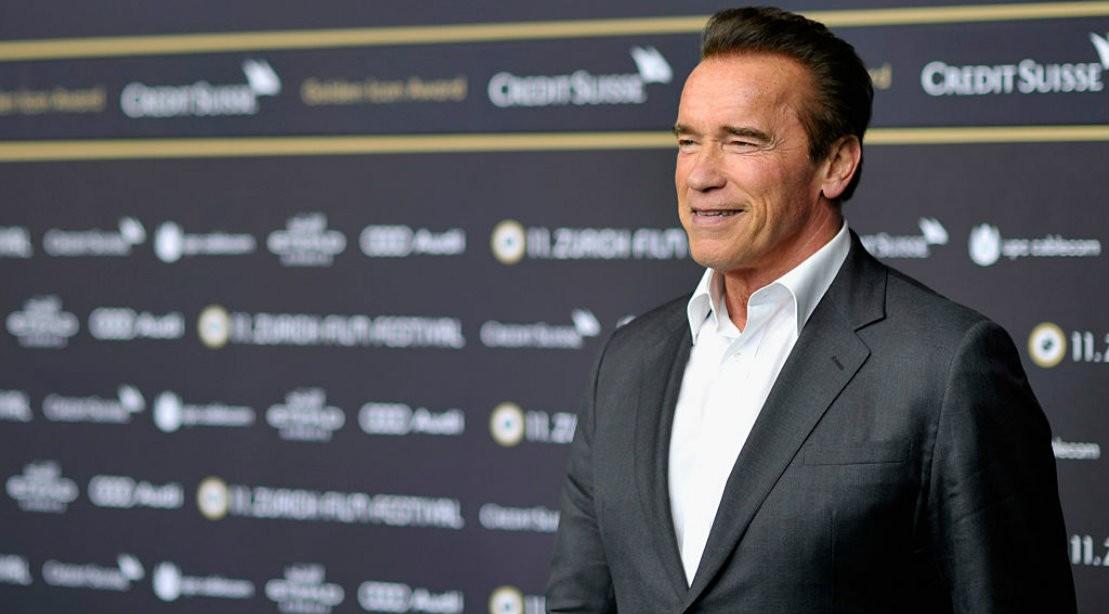Arnold Schwarzenegger Wearing Suit Promotion Event
