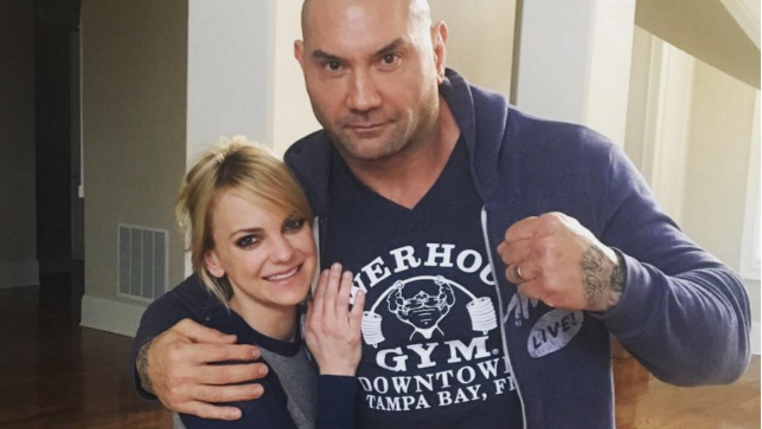 M&F Cover Star Dave Bautista teaches Anna Faris and Chris Pratt Wrestling Move
