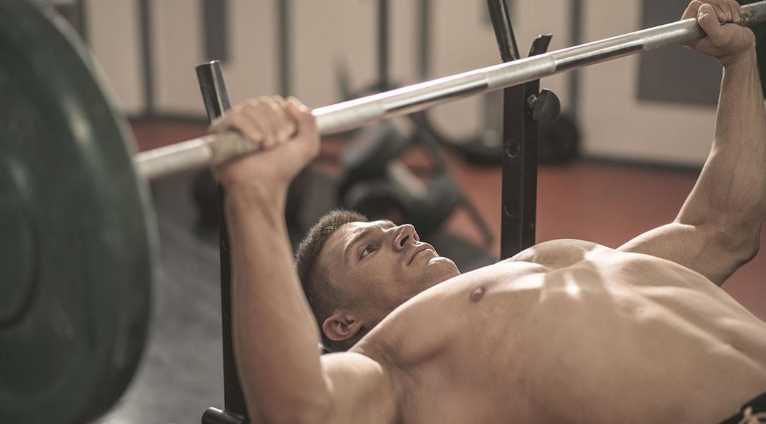 A man bench pressing