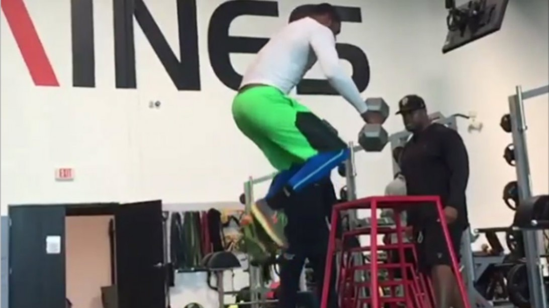 box jump with dumbbells