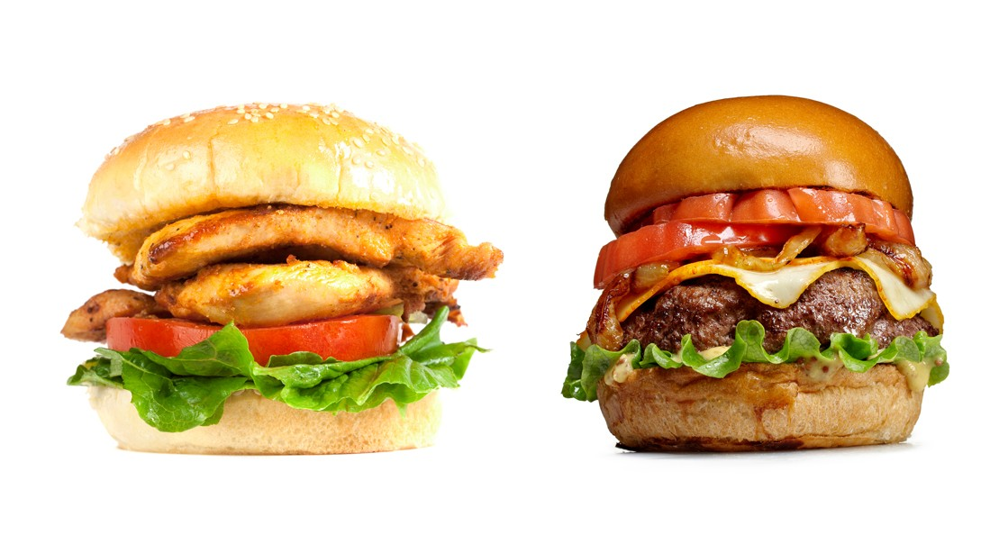 Image result for hamburger and chicken sandwiches