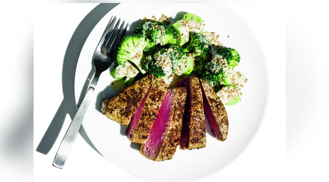 Spicy tuna with broccoli