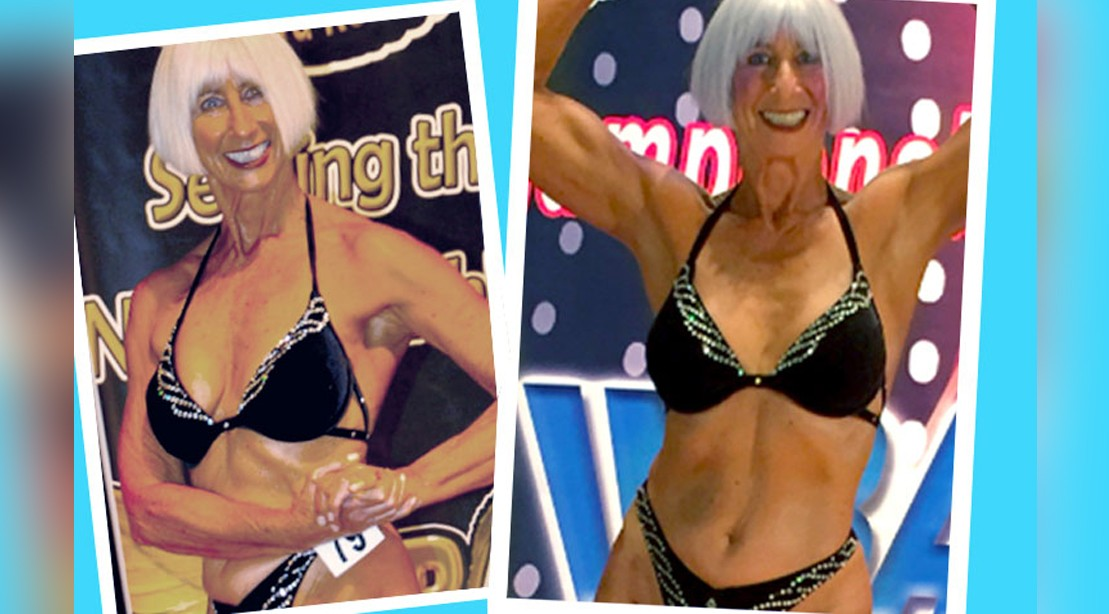 73-Year-Old Bodybuilder Dixie James Posing In Competition