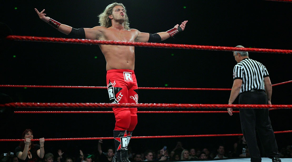 WWE Superstar Edge posing for the crowd.