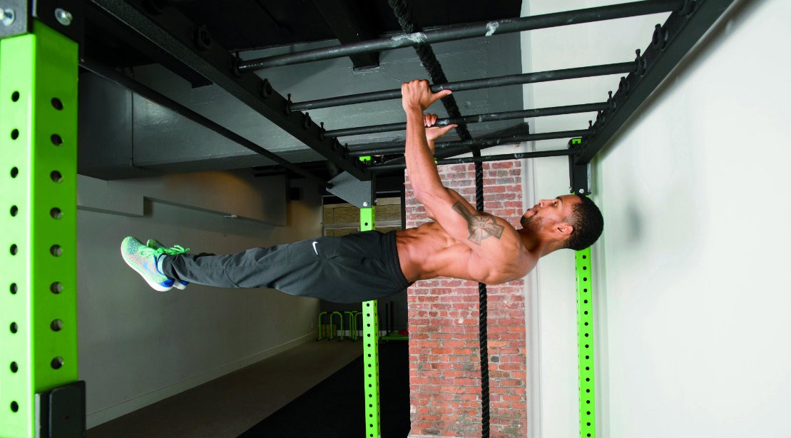 Man performing front lever move