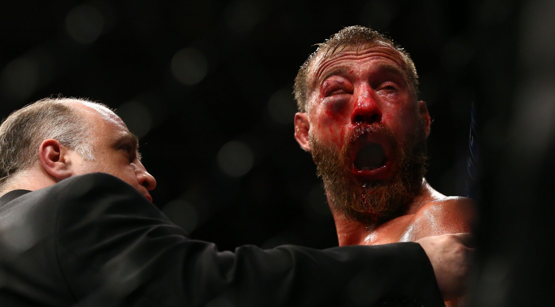 Donald Cerrone reacts after doctors call off his lightweight bout against Tony Ferguson during the UFC 238 event at United Center on June 8, 2019 in Chicago, Illinois.
