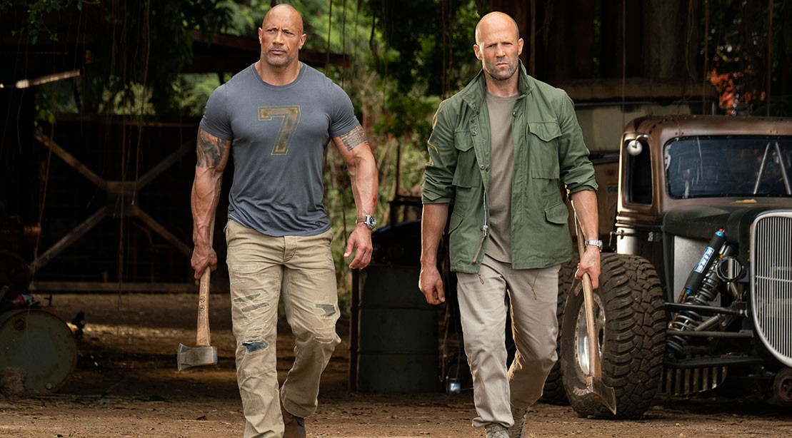 The Rock and Jason Statham on the set of 'Hobbs & Shaw.'