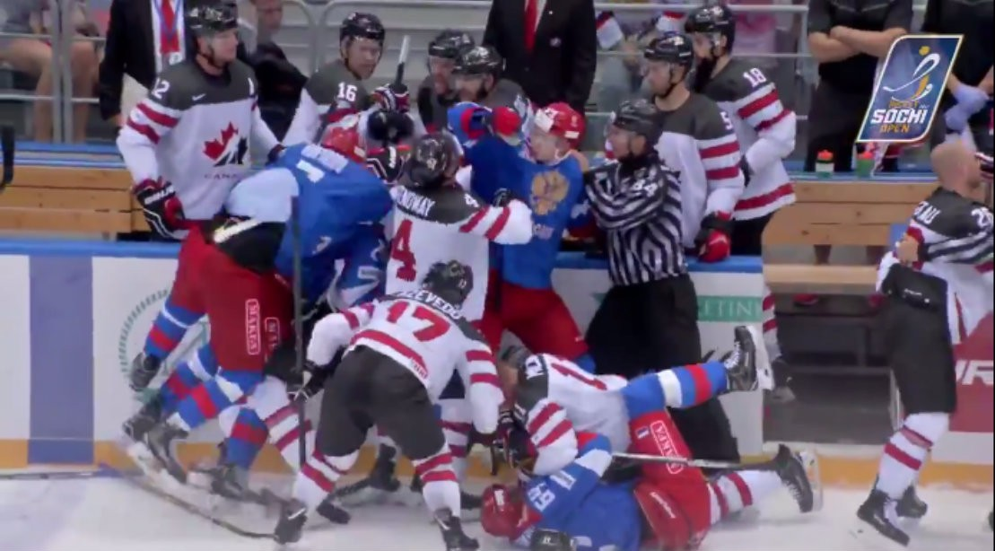 WATCH: Hockey Brawl Breaks Out in Pre-olympic Tournament Between Canada and Russia